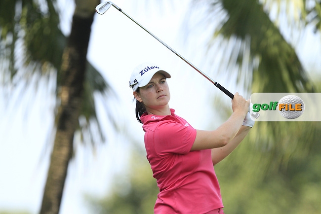 Caroline Masson (GER) on the 2nd tee during Round 4 of the HSBC Women's Champions at the Sentosa Golf Club, The Serapong Course in Singapore on Sunday 8th March 2015.<br /> Picture:  Thos Caffrey / www.golffile.ie