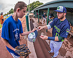 4 September 2017: Vermont Lake Monsters outfielder Payton Squier signs autographs prior to the first game of a double-header against the Tri-City ValleyCats at Centennial Field in Burlington, Vermont. The teams split their day, with Tri-City winning 6-5 in the first game, and the Lake Monsters taking the second 7-4 in NY Penn League action. Mandatory Credit: Ed Wolfstein Photo *** RAW (NEF) Image File Available ***