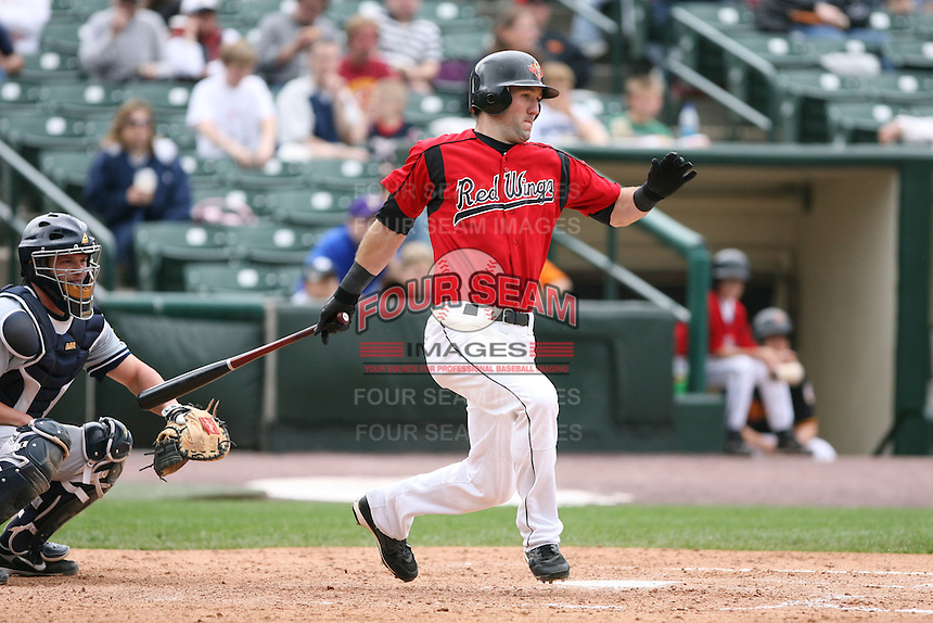 June 1st 2008:  Jason Pridie of the Rochester Red Wings, Class-AAA affiliate of the Minnesota Twins, during a game at Frontier Field in Rochester, NY.  Photo By Mike Janes/Four Seam Images