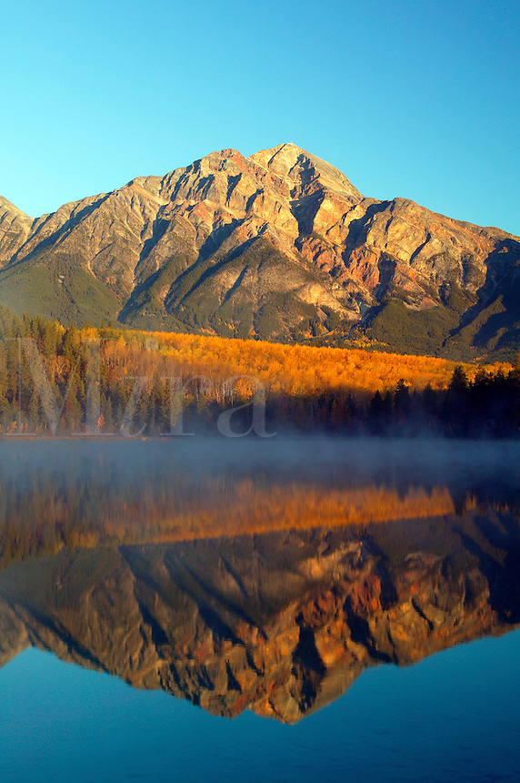Pyramid Mountain reflects into Patricia Lake during a foggy Fall sunrise, Jasper National Park, Alberta, Canada.