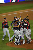 Japan celebrates their victory over Korea at the World Baseball Classic at Dodger Stadium on March 23, 2009 in Los Angeles, California. (Larry Goren/Four Seam Images)