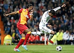 Real Madrid's Raphael Varane and Galatasaray's Didier Drogba during the quarter final Champion League match. April 3, 2013.(ALTERPHOTOS/Alconada)