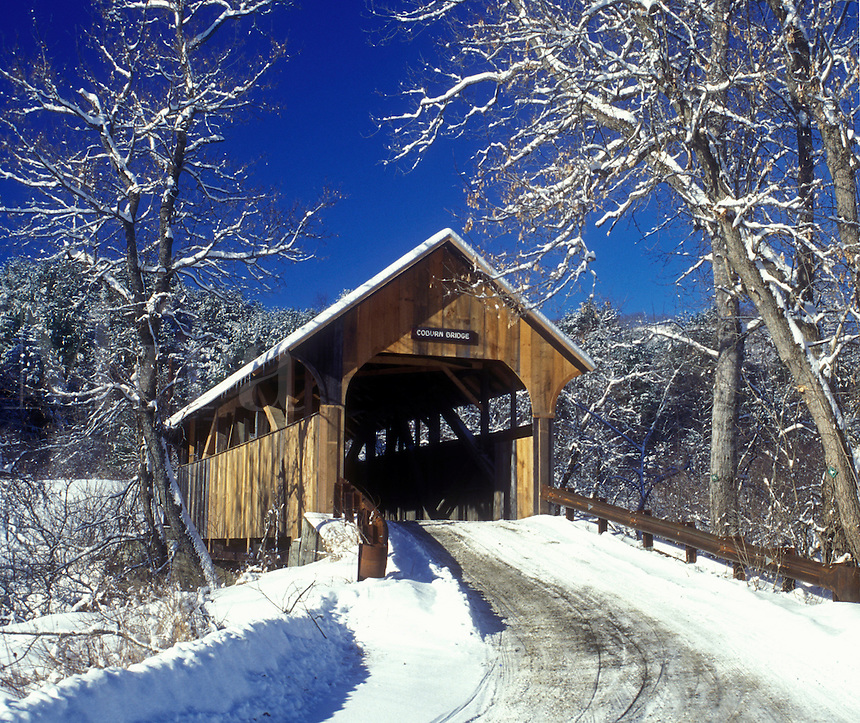 covered bridge, country road, winter, East Montpelier, Vermont, VT, Coburn Covered Bridge circa 1851 on a sunny day in East Montpelier in winter.