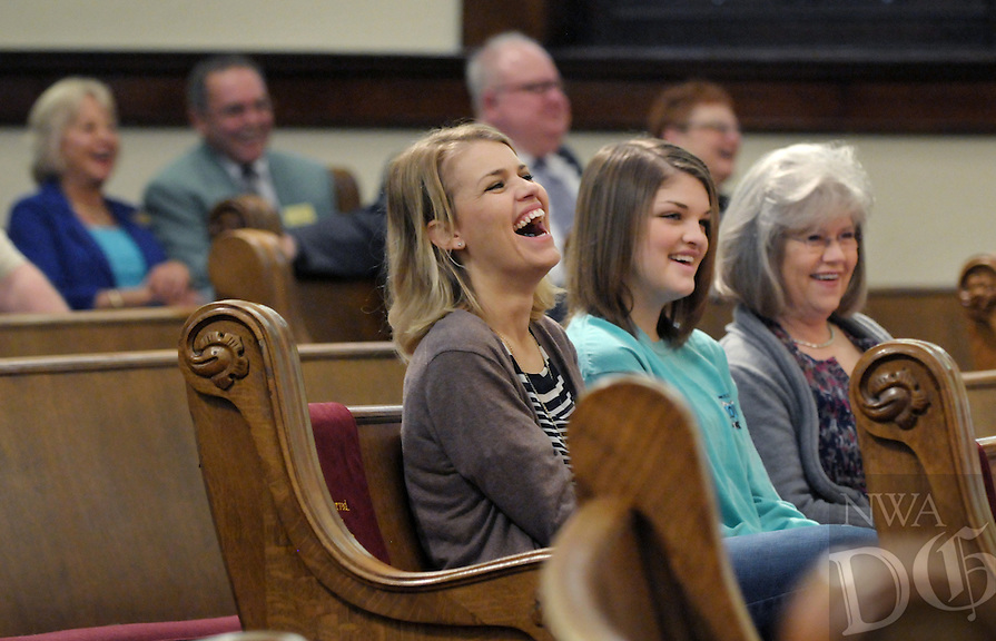 NWA Democrat-Gazette/BEN GOFF @NWABENGOFF<br /> Whitney Mann (from left), daughter Nevlyn Mann and mother Debbie Weaver of Rogers have a laugh on Sunday March 13, 2016 during the Laughter Sunday service at First United Methodist Church in Rogers.
