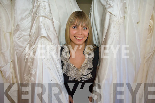 Kathyrn O'Sullivan displaying her designer wedding dresses