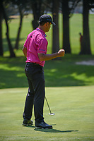 Shubhankar Sharma (IND) gives a fist pump after sinking his birdie putt on 1 during round 3 of the World Golf Championships, Mexico, Club De Golf Chapultepec, Mexico City, Mexico. 3/3/2018.<br /> Picture: Golffile | Ken Murray<br /> <br /> <br /> All photo usage must carry mandatory copyright credit (&copy; Golffile | Ken Murray)