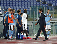 Football, Serie A: S.S. Lazio - Fiorentina, Olympic stadium, Rome, June 27, 2020. <br /> Lazio's coach Simone Inzaghi (r) leaves the pitch after receiving a red card from the referee Michael Fabbri during the Italian Serie A football match between S.S. Lazio and Fiorentina at Rome's Olympic stadium, Rome, on June 27, 2020. <br /> UPDATE IMAGES PRESS/Isabella Bonotto