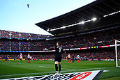 18th March 2018, Camp Nou, Barcelona, Spain; La Liga football, Barcelona versus Athletic Bilbao; Kepa of Athletic Bilbao protest the decision of the referee