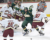 Brian Boyle trips up a celebrating Matt Syroczynski.  The referree ruled non-goal as he had lost sight of the puck.  Stephen Gionta, Anthony Aiello, Vermont ?, Mike Brennan, Matt Syroczynski, Brian Boyle - The Boston College Eagles completed a shutout sweep of the University of Vermont Catamounts on Saturday, January 21, 2006 by defeating Vermont 3-0 at Conte Forum in Chestnut Hill, MA.