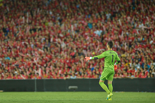 02.03.2016. Sydney, Australia. AFC Champions League. Sydney versus Guangzhou Evergrande. Sydney goalkeeper Vedran Janjetovic stands out against the red of the massed Evergrande fans in the stands. Sydney won the game 2-1.