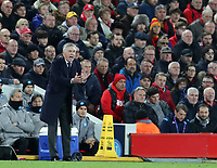 27th November 2019; Anfield, Liverpool, Merseyside, England; UEFA Champions League Football, Liverpool versus SSC Napoli ; SSC Napoli manager Carlo Ancelotti urges on his players from the touchline - Editorial Use