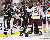 Chris Rooney (PC - 21), Edwin Shea (BC - 8), David Brown (PC - 5), Marc Sullivan, Bill Arnold (BC - 24), Chris Aughe - The Boston College Eagles defeated the Providence College Friars 4-2 in their Hockey East semi-final on Friday, March 16, 2012, at TD Garden in Boston, Massachusetts.