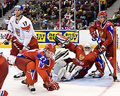 Vladimir Ruzicka (Czech Republic - 17), Maxim Chudinov (Russia - 27), Vadim Zhelobnyuk (Russia - 1), Vasili Tokranov (Russia - 8) - Russia defeated the Czech Republic 5-1 on Friday, January 2, 2009, at Scotiabank Place in Kanata (Ottawa), Ontario, during the 2009 World Junior Championship.