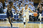 06 December 2012: Duke's Chloe Wells (4) and Georgia Tech's Sydney Wallace (left). The Duke University Blue Devils played the Georgia Tech University Yellow Jackets at Cameron Indoor Stadium in Durham, North Carolina in an NCAA Division I Women's Basketball game. Duke won the game 85-52.
