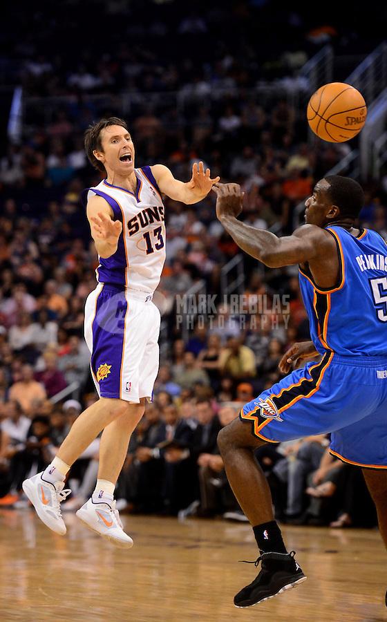 Apr. 18, 2012; Phoenix, AZ, USA; Phoenix Suns guard (13) Steve Nash passes the ball in the second half against the Oklahoma City Thunder at the US Airways Center. Mandatory Credit: Mark J. Rebilas-