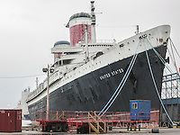 The ocean liner S.S. United States berthed in Philly.