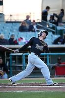 Tyler Baker (9) of the Visalia Rawhide bats against the Lancaster JetHawks at The Hanger on May 7, 2016 in Lancaster, California. Lancaster defeated Visalia, 19-5. (Larry Goren/Four Seam Images)