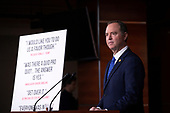 United States Representative Adam Schiff (Democrat of California) speaks at a press conference on Capitol Hill in Washington D.C., U.S. on Tuesday, December 3, 2019.  The House Intelligence Committee is preparing to hand over a report on the impeachment inquiry into United States President Donald J. Trump to the United States House Judiciary Committee.<br /> <br /> Credit: Stefani Reynolds / CNP