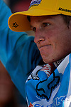 Ricky Carmichael (4) stands on the awards platform at the Unadilla Valley Sports Center in New Berlin, New York on July 16, 2006, during the AMA Toyota Motocross Championship.