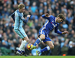 Kevin De Bruyne of Manchester City tussles with Marcos Alonso of Chelsea during the Premier League match at the Etihad Stadium, Manchester. Picture date: December 3rd, 2016. Pic Simon Bellis/Sportimage