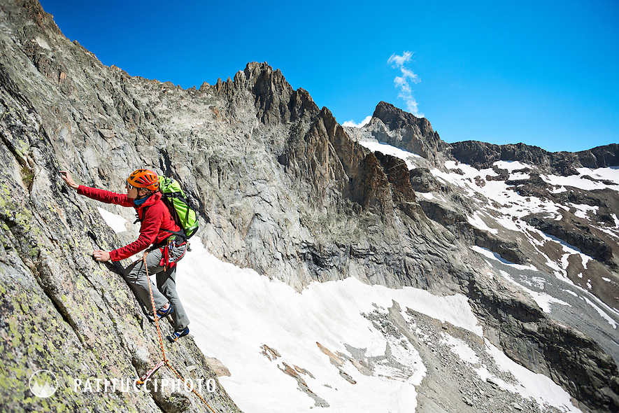 Climbing a 4c on the East Face of the Aiguille Dibona, Ecrins National Park, France