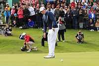 Matthew Fitzpatrick (ENG) putts on the 18th green on the 2nd playoff hole during Sunday's Final Round of the 2017 Omega European Masters held at Golf Club Crans-Sur-Sierre, Crans Montana, Switzerland. 10th September 2017.<br /> Picture: Eoin Clarke | Golffile<br /> <br /> <br /> All photos usage must carry mandatory copyright credit (&copy; Golffile | Eoin Clarke)