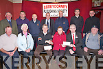 PRESENTATION: The Abbeydorney Ploughing Society members who presented cheques, and the most appreate dressed at the Abbeydorney Ploughing Competitiko that was on in January 2013, Front l-r: Denis Burns, Kathleen Casey O'Connell, Tom Clear (chairman Chernobyi Fund), Eileen Mccarthy, Mark Sullivan and Jim L:awlor (president Abbeydorney Ploughing Society). Back l-r: Mike Fitzmaurice, Ger Maunsell, DJ O'Connell, Tom O'Mahony, Tom Rice, Nathan O'Donnell Ballyseedy Garden Leisure & Home Centre) who sponsored the appocate dress Lady and Man at the Abbeydorney Ploughing Competition,  and Brian Dillon.