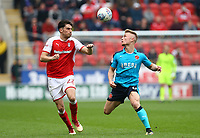Kyle Dempsey of Fleetwood Town and Joe Newell of Rotherham United during the Sky Bet League 1 match between Rotherham United and Fleetwood Town at the New York Stadium, Rotherham, England on 7 April 2018. Photo by Leila Coker.