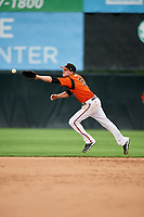 Bowie Baysox second baseman Corban Joseph (5) fields a ground ball during the first game of a doubleheader against the Trenton Thunder on June 13, 2018 at Prince George's Stadium in Bowie, Maryland.  Trenton defeated Bowie 4-3.  (Mike Janes/Four Seam Images)