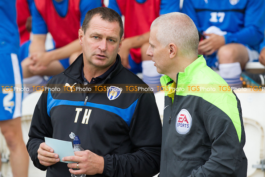 Tony Humes, Manager of Colchester United with the fourth official - Colchester United vs Bradford City - Sky Bet League One Football at the Weston Homes Community Stadium, Colchester, Essex - 20/09/14 - MANDATORY CREDIT: Ray Lawrence/TGSPHOTO - Self billing applies where appropriate - contact@tgsphoto.co.uk - NO UNPAID USE