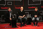 Moderator v with Matt Damon & Gus Van Sant on stage at TimesTalks at the Times Center in New York City. November 27, 2012.