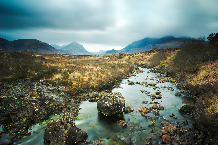 Moody skies over a tributary of the River Silgachan in the Cuillins, Isle of Skye
