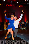 Liam Colleran and Aoife Doran celebrate after winning the Irish Cancer Society Strictly Come Dancing in the INEC on Friday night