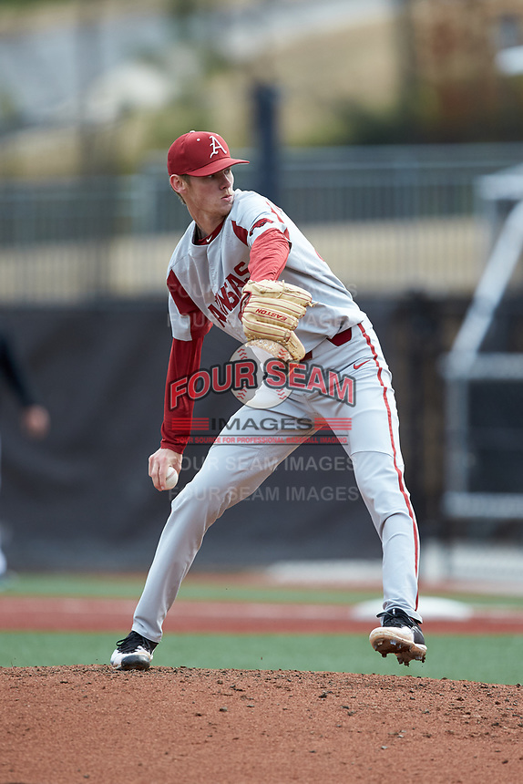 Arkansas Razorbacks relief pitcher Jacob Kostyshock (35) in action against the Charlotte 49ers at Hayes Stadium on March 21, 2018 in Charlotte, North Carolina.  The 49ers defeated the Razorbacks 6-3.  (Brian Westerholt/Four Seam Images)