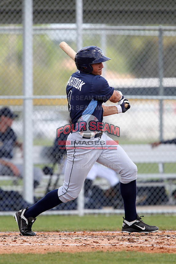 Tampa Bay Rays Mikie Mahtook #4 during a spring training game against the Baltimore Orioles at the Buck O'Neil Complex on March 21, 2012 in Sarasota, Florida.  (Mike Janes/Four Seam Images)