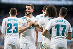 Real Madrid Mateo Kovacic, Lucas Vazquez, Nacho Fernandez and Marcelo celebrating a goal during La Liga match between Real Madrid and R. C. Deportivo at Santiago Bernabeu Stadium in Madrid, Spain. January 18, 2018. (ALTERPHOTOS/Borja B.Hojas)