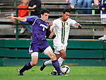 11 September 2009: University of Portland Pilots' defenseman/forward Logan Emory, a Senior from Boise, Idaho (left), battles University of Vermont Catamount forward/midfielder Juan Peralta, a Junior from Queens, NY, in the first round of the 2009 Morgan Stanley Smith Barney Soccer Classic held at Centennial Field in Burlington, Vermont. The Catamounts and Pilots battled to a 1-1 double-overtime tie. Mandatory Photo Credit: Ed Wolfstein Photo