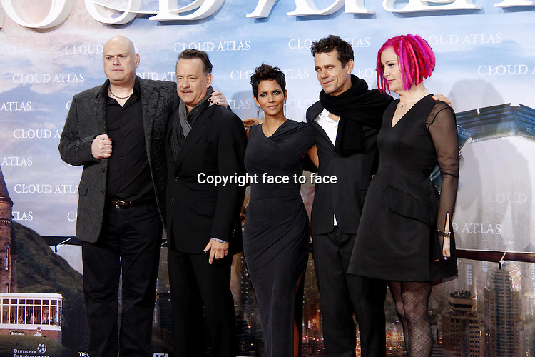 "(L-R) Andy Wachowski, Tom Hanks, Halle Berry, Tom Tykwer, Lana Wachowski attending the ""Cloud Atlas"" Germany Premiere at CineStar in Berlin, Germany, 05.11.2012...Credit: Bugge/face to face"
