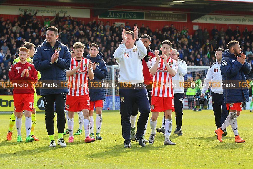 Stevenage players thank the fans at the final whistle during Stevenage vs AFC Wimbledon, Sky Bet League 2 Football at the Lamex Stadium on 30th April 2016