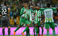 MEDELLÍN - COLOMBIA, 21-04-2018: Jeison Lucumi de Atlético Nacional celebra después de anotar un gol a Once Caldas durante partido por la fecha 17 de la Liga Águila I 2018 jugado en el estadio Atanasio Girardot de la ciudad de Medellín. / Jeison Lucumi payer of Atletico Nacional celebrates after scoring a goal to Once Caldas during match for the date 17 of the Aguila League I 2018 at Atanasio Girardot stadium in Medellin city. Photo: VizzorImage/León Monsalve/Cont
