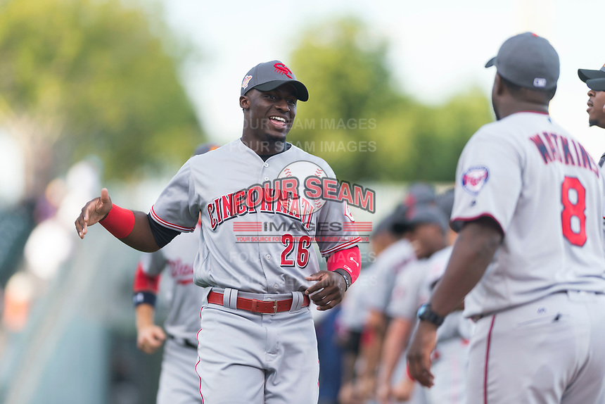 AFL East outfielder Taylor Trammell (26), of the Scottsdale Scorpions and Cincinnati Reds organization, during player introductions before the Arizona Fall League Fall Stars game at Surprise Stadium on November 3, 2018 in Surprise, Arizona. The AFL West defeated the AFL East 7-6 . (Zachary Lucy/Four Seam Images)