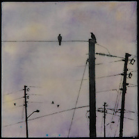 Purple sky encaustic painting with silhouette of crows on telephone lines. SOLD