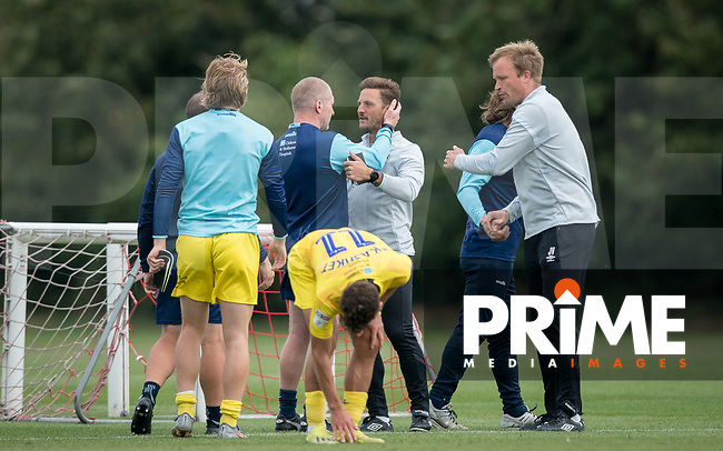 Brentford B coach Sam Saunders & Wycombe Wanderers Assistant Manager Richard Dobson during the behind closed doors friendly between Brentford B and Wycombe Wanderers at Brentford Football Club Training Ground & Academy, 100 Jersey Road, TW5 0TP, United Kingdom on 3 September 2019. Photo by Andy Rowland.