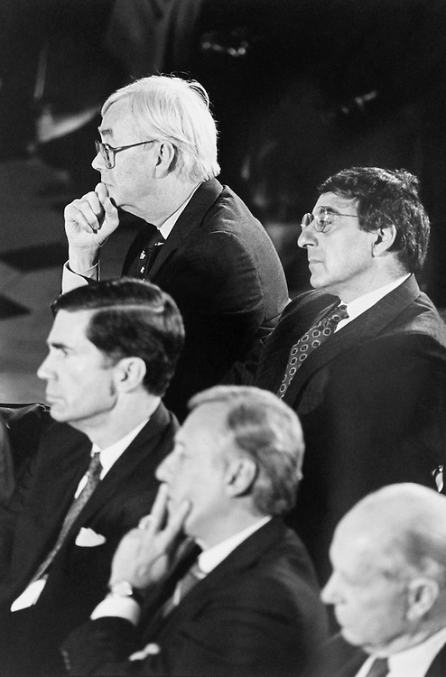 Sen. Daniel Patrick Moynihan, D-N.Y., Chuck Robb, Rep. Steny Hoyer, D-Md., and Rep. Leon Panetta, D-Calif., and Rep. Glenn Anderson, D-Calif., listen to former Soviet President Mikhail Gorbachev address members of Congress in Statuary Hall. May 14, 1992 (Photo by Maureen Keating/CQ Roll Call)