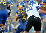 BROOKINGS, SD - OCTOBER 10:  Brady Mengarelli #44 from South Dakota State looks for room past Norvell McGlaun #52 from Indiana State in the first half of their game Saturday night at Coughlin Alumni Stadium. (Photo by Dave Eggen/Inertia)