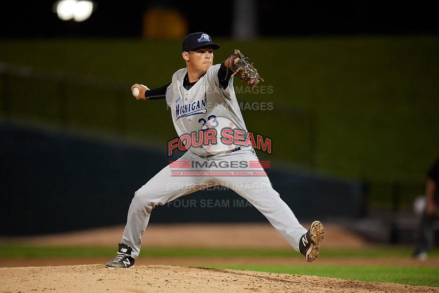 West Michigan Whitecaps relief pitcher Tom De Blok (33) delivers a pitch during a game against the Peoria Chiefs on May 8, 2017 at Dozer Park in Peoria, Illinois.  West Michigan defeated Peoria 7-2.  (Mike Janes/Four Seam Images)