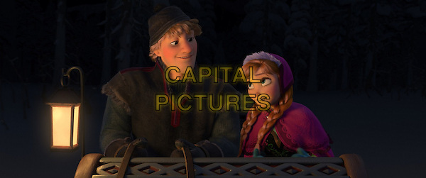 KRISTOFF (voice of Jonathan Groff) &amp; ANNA (voice of Kristen Bell)<br /> in Frozen (2013) <br /> *Filmstill - Editorial Use Only*<br /> CAP/NFS<br /> Image supplied by Capital Pictures