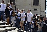 Roma, 9 Maggio 2014<br /> 'I Love EU' - Flash mob organizzato da Scelta Civica in occasione della Festa dell'Europa.<br /> Stafania Giannini ministra dell'istruzione, con la maglia i love EU arriva in piazza di Spagna sulla scalinata di Trinita' dei Monti per la campagna 'I Love EU'