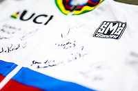 Picture by Alex Whitehead/SWpix.com - 04/03/2017 - Cycling - UCI Para-cycling Track World Championships - Velo Sports Center, Los Angeles, USA - Branding, Rainbow stripes, jersey, Santini.
