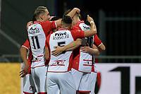 EMMEN - Voetbal, FC Emmen - Jong PSV, Jens Vesting, Jupiler League, seizoen 2017-2018, 13-10-2017,  Emmen viert de 1-0 van FC Emmen speler Alexander Bannink